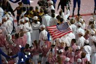 Athletes parade through the stadium during the Closing Ceremony on Day 16 of the London 2012 Olympic Games at Olympic Stadium on August 12, 2012 in London, England. (Photo by Feng Li/Getty Images)