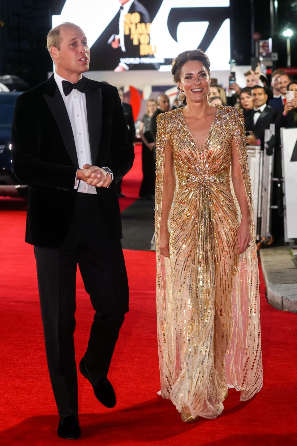 Kate Middleton wore a gold Jenny Packham dress to the premiere of