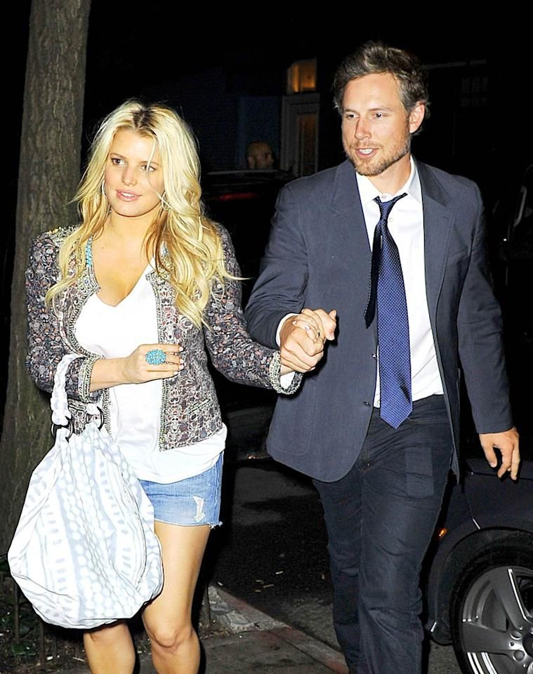 """""""Jessica Simpson wants to elope,"""" reports the <i>National Enquirer</i>. The magazine says Simpson is so """"stressed out"""" over her upcoming wedding on November 11, """"she's begging her beau, former NFL player Eric Johnson, to fly away with her so they can tie the knot alone."""" For exclusive details about where and when they plan to elope, and what forced Simpson to abandon her wedding plans, log on to <a href=""""http://www.gossipcop.com/jessica-simpson-elope-eric-johnson-elopement-calling-off-wedding/"""" target=""""new"""">Gossip Cop</a>. Sharpshooter Images/<a href=""""http://www.splashnewsonline.com"""" target=""""new"""">Splash News</a> - May 21, 2011"""