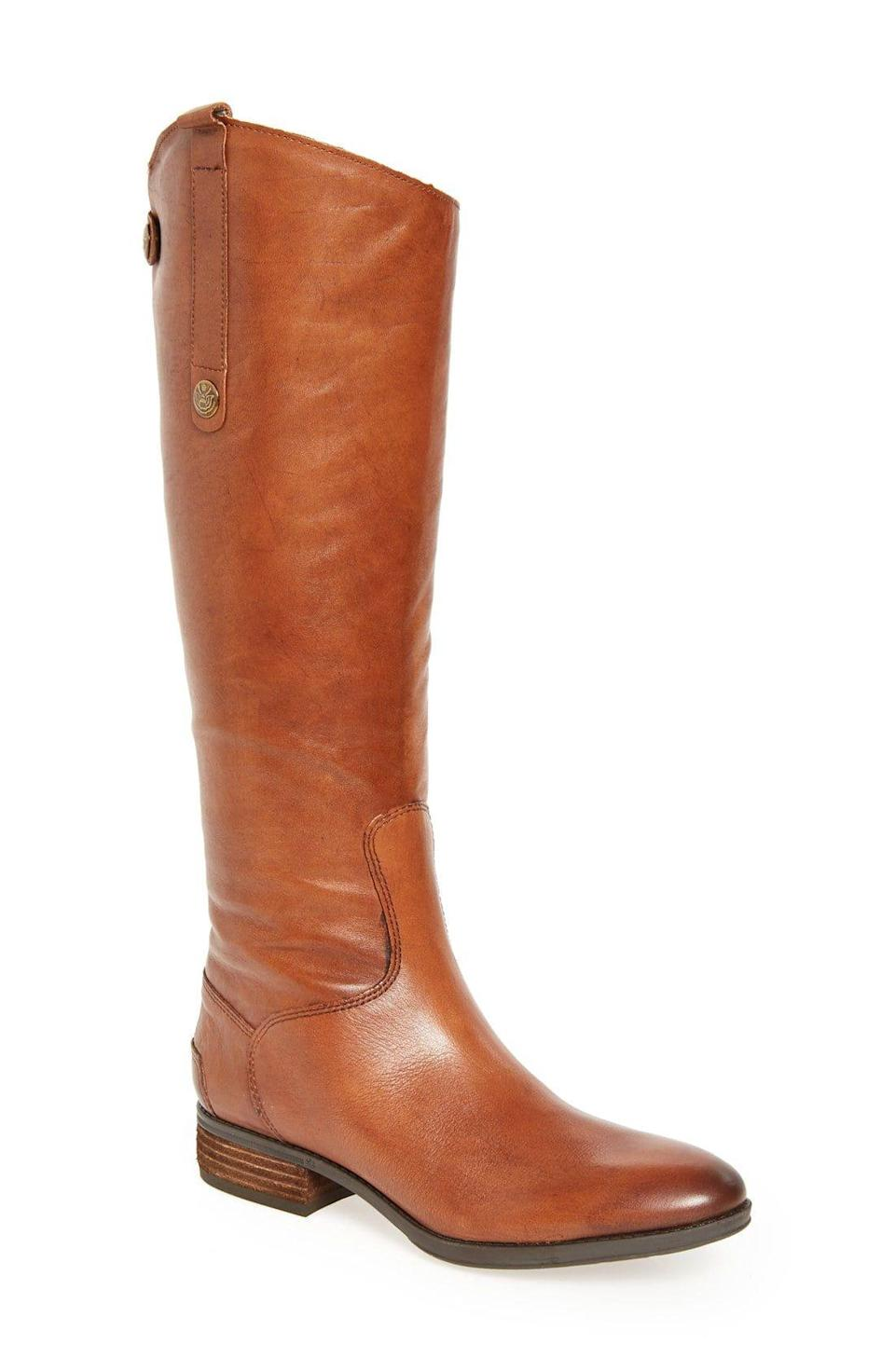 """<p><strong>Sam Edelman</strong></p><p><strong>$44.84</strong></p><p><a href=""""https://www.amazon.com/Sam-Edelman-Penny-Whiskey-Leather/dp/B00G1INUPW/?tag=syn-yahoo-20&ascsubtag=%5Bartid%7C10067.g.28225508%5Bsrc%7Cyahoo-us"""" rel=""""nofollow noopener"""" target=""""_blank"""" data-ylk=""""slk:Shop Now"""" class=""""link rapid-noclick-resp"""">Shop Now</a></p><p>Take a page from <a href=""""https://www.townandcountrymag.com/style/fashion-trends/g15925659/kate-middleton-favorite-shoes/"""" rel=""""nofollow noopener"""" target=""""_blank"""" data-ylk=""""slk:Kate Middleton's book"""" class=""""link rapid-noclick-resp"""">Kate Middleton's book</a> and accent your fall style with a cute pair of riding boots. </p>"""