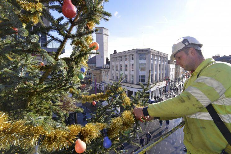 Leicester City Council's Christmas tree has been branded a 'disgrace'