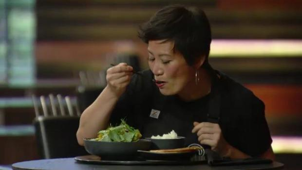 Poh tasting a curry on MasterChef