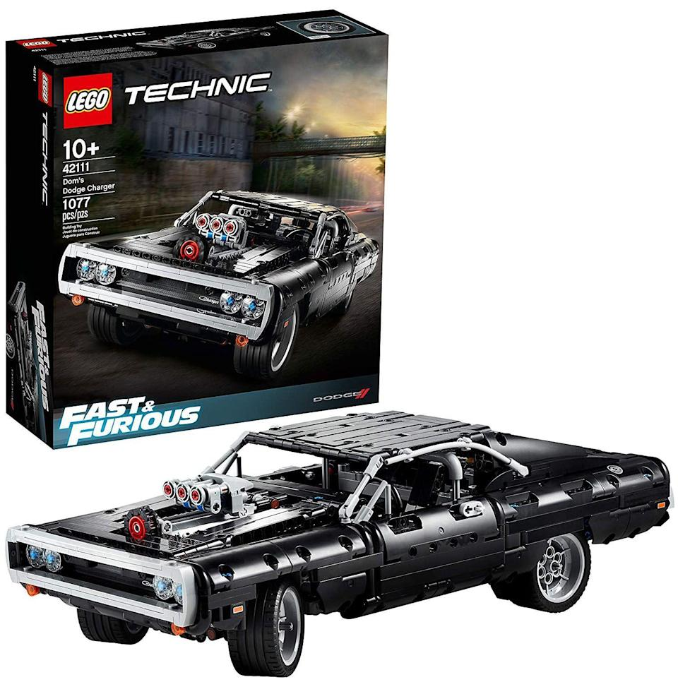 """<p><strong>LEGO Technic</strong></p><p>amazon.com</p><p><strong>$99.95</strong></p><p><a href=""""https://www.amazon.com/dp/B083JZHG42?tag=syn-yahoo-20&ascsubtag=%5Bartid%7C10054.g.34039580%5Bsrc%7Cyahoo-us"""" rel=""""nofollow noopener"""" target=""""_blank"""" data-ylk=""""slk:Buy"""" class=""""link rapid-noclick-resp"""">Buy</a></p><p>And then there's the second-most iconic car to ever be filmed: Dom Toretto's 1970 Dodge Charger from <em>Fast and Furious</em>, the dragon-loud muscle car that inspires grown men to live their lives one quarter of a mile at a time, the one that is continually mangled then resurrected throughout the series. Much like its main characters, actually.</p>"""