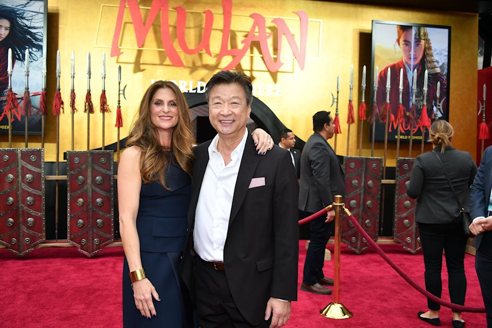 """HOLLYWOOD, CALIFORNIA - MARCH 09: Niki Caro and Tzi Ma attend the premiere of Disney's """"Mulan"""" at Dolby Theatre on March 09, 2020 in Hollywood, California. (Photo by Amy Sussman/Getty Images)"""