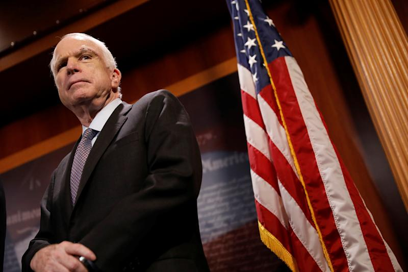 Sen. John McCain has become a target of President Trump over his refusal to hastily repeal the Affordable Care Act. (Aaron Bernstein / Reuters)