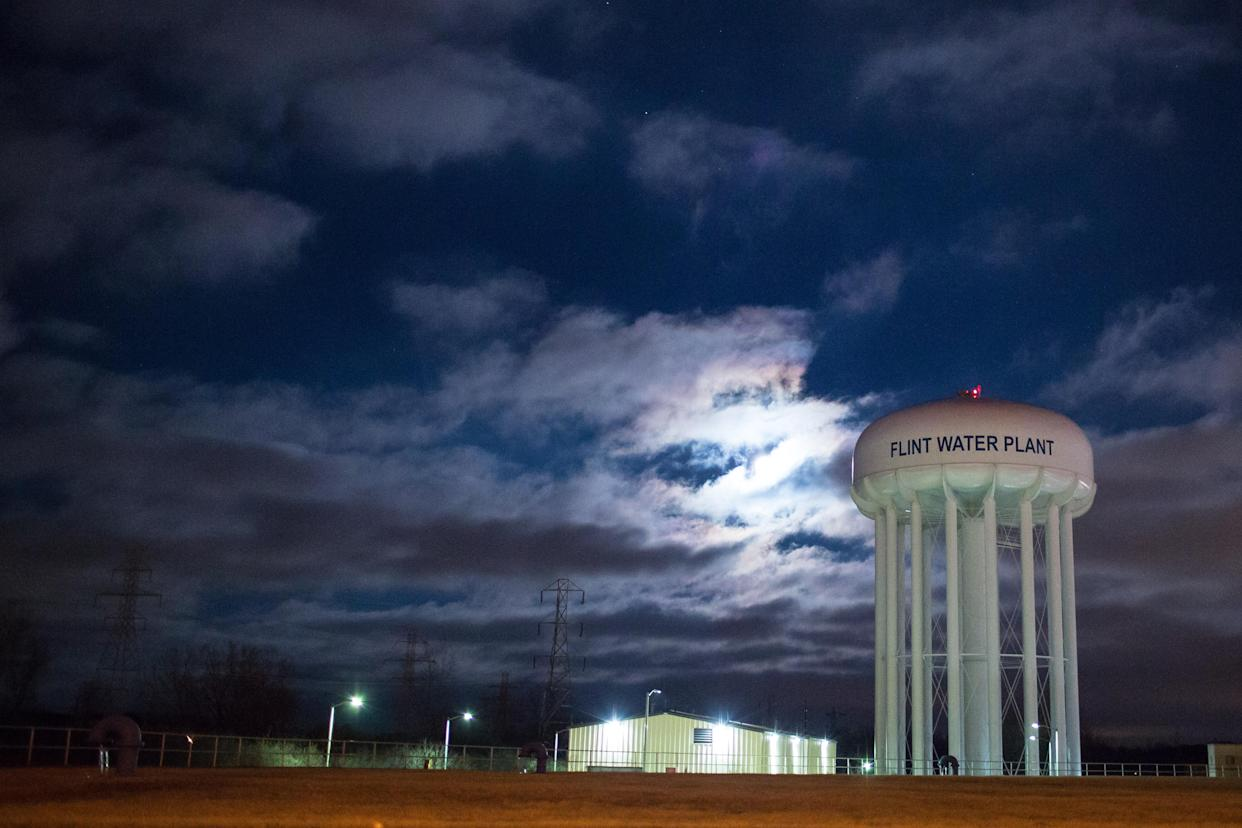 The City of Flint Water Plant illuminated by moonlight. (Photo: Brett Carlsen/Getty Images)