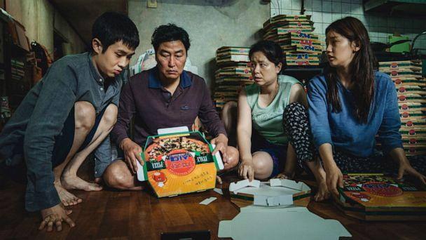 PHOTO: The Kim Family (Woo-sik Choi, Kang-ho Song, Hye-jin Jang, So-dam Park) in the film, 'Parasite.' (NEON + CJ Entertainment)