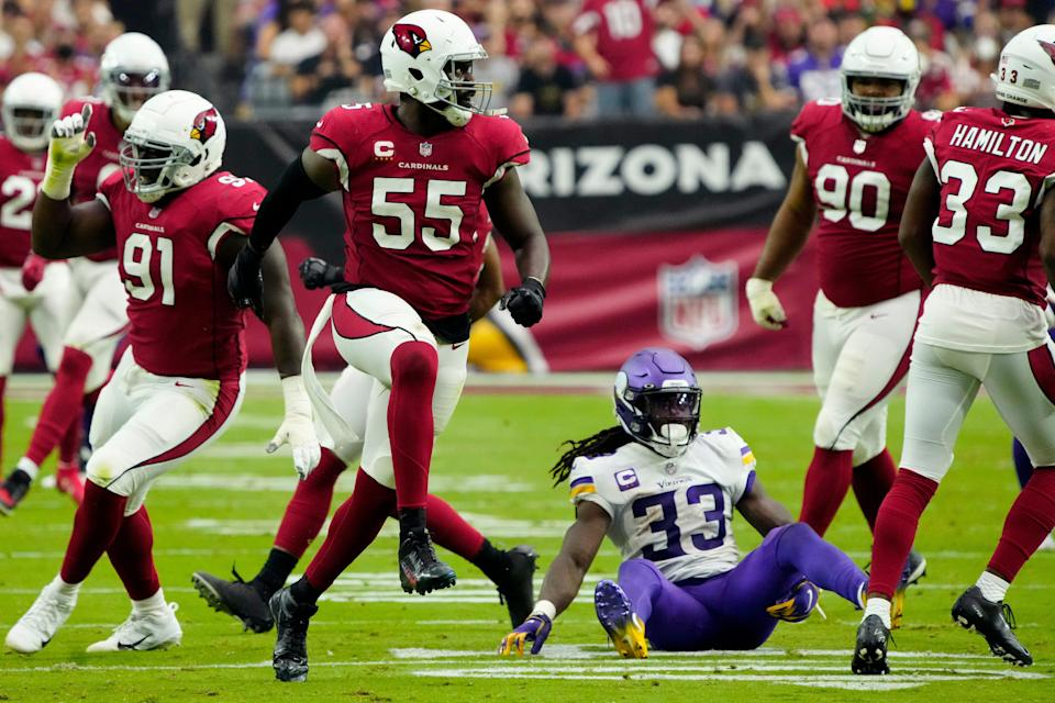 The Vikings' Dalvin Cook rushed for 131 yards in Week 2 against the Cardinals, but sprained his ankle late in the game.