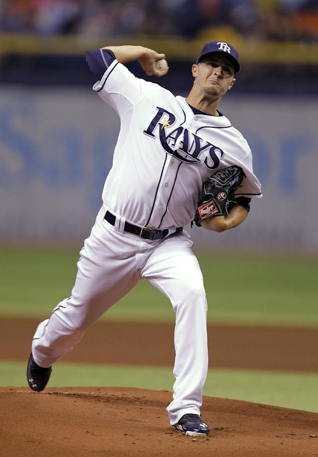 Tampa Bay Rays starting pitcher Jake Odorizzi delivers to the Boston Red Sox during the first inning of a baseball game Saturday, Aug. 30, 2014, in St. Petersburg, Fla. (AP Photo/Chris O'Meara)