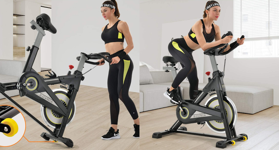 This affordable stationary bike is on sale for under $300. Images via Amazon.