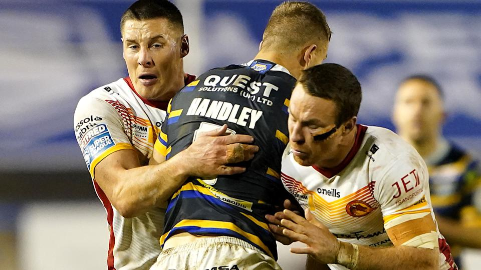 Joel Tomkins, pictured here in action for Catalans Dragons against Leeds.