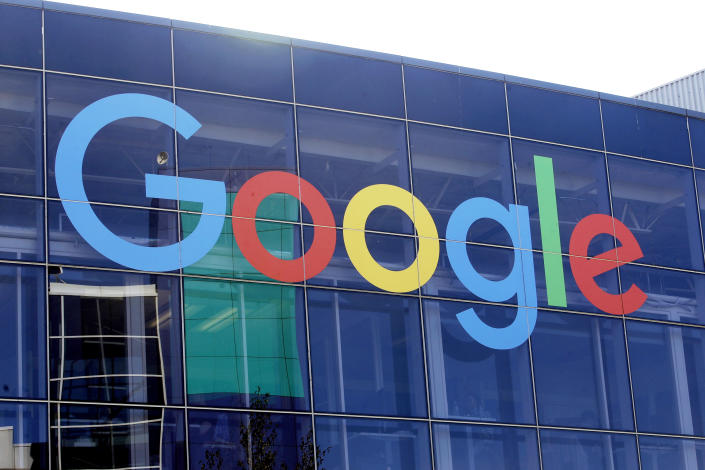 FILE - In this Sept. 24, 2019, file photo a sign is shown on a Google building at their campus in Mountain View, Calif. The European Court of Auditors, which has examined the EU's enforcement of competition rules over the past decade, says antitrust investigations have taken too long, dulling their effectiveness. European Union regulators have launched a fresh antitrust investigation of Google, this time over whether the U.S. tech giant is stifling competition in digital advertising technology. (AP Photo/Jeff Chiu, File)