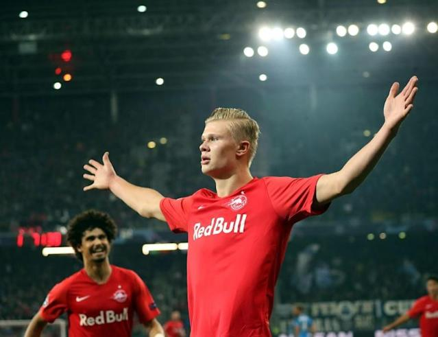 One to watch: Erling Braut Haaland has scored 28 goals in 21 games for Salzburg this season (AFP Photo/STRINGER)