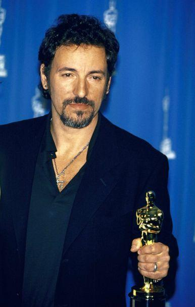 PHOTO: Musician Bruce Springsteen holding his Oscar in Press Room at the Academy Awards, March 21, 1994.  (The LIFE Picture Collection via Getty Images)