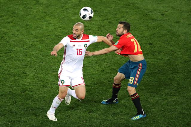 Soccer Football - World Cup - Group B - Spain vs Morocco - Kaliningrad Stadium, Kaliningrad, Russia - June 25, 2018 Morocco's Nordin Amrabat in action with Spain's Jordi Alba REUTERS/Mariana Bazo
