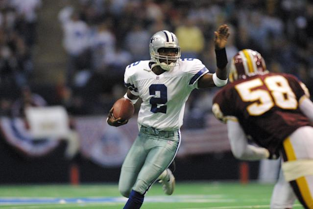 "Anthony Wright made his first NFL start for the <a class=""link rapid-noclick-resp"" href=""/nfl/teams/dallas/"" data-ylk=""slk:Dallas Cowboys"">Dallas Cowboys</a> in 2000. His last NFL season came in 2007 with the <a class=""link rapid-noclick-resp"" href=""/nfl/teams/ny-giants/"" data-ylk=""slk:New York Giants"">New York Giants</a>. (Photo via Allsport)"