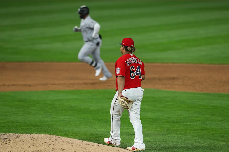 Yermin Mercedes rounds the bases after a homer on Monday that would soon become controversial thanks to his own manager. (Photo by David Berding/Getty Images)