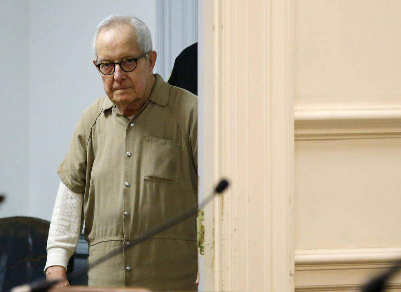 Former priest Ronald Paquin arrives for sentencing York County Superior Court, Friday, May 23, 2019, in Alfred, Maine. The defrocked Massachusetts priest was convicted for sexually abusing an altar boy years ago. Paquin spent more than 10 years in a prison in Massachusetts for sexually abusing another altar boy in that state. (AP Photo/Robert F. Bukaty)