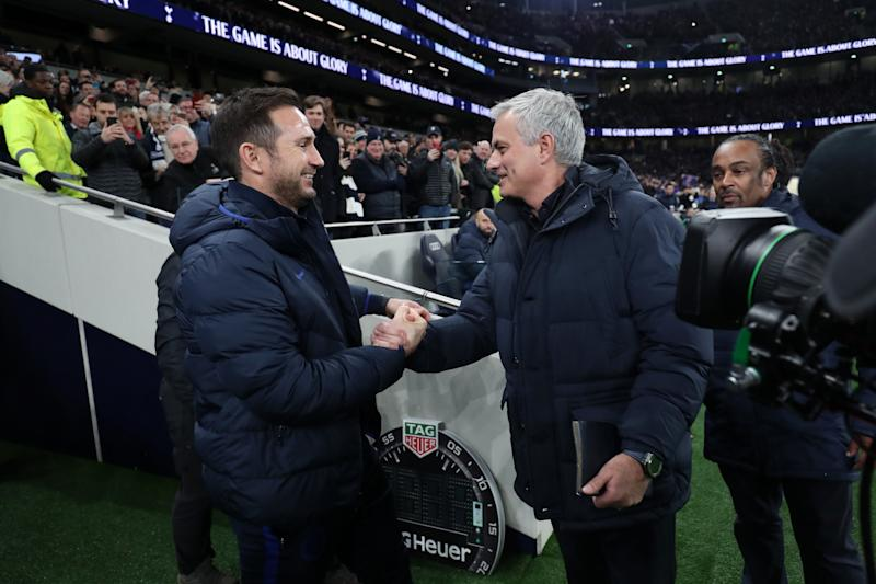 LONDON, ENGLAND - DECEMBER 22: Jose Mourinho, Manager of Tottenham Hotspur greets Frank Lampard, Manager of Chelsea prior to the Premier League match between Tottenham Hotspur and Chelsea FC at Tottenham Hotspur Stadium on December 22, 2019 in London, United Kingdom. (Photo by Tottenham Hotspur FC/Tottenham Hotspur FC via Getty Images)