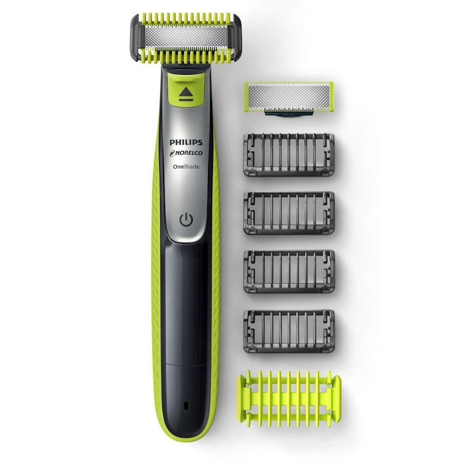 <p>If he's got facial hair, he could probably benefit from a new grooming tool like the <span>Philips Norelco OneBlade Face and Body Hybrid Electric Trimmer and Shaver with Multiple Attachment Combs</span> ($54).</p>