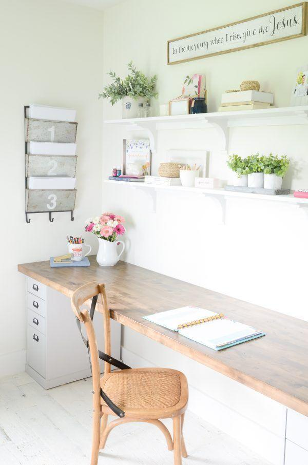"""<p>Give yourself plenty of room to craft, write, and work by building a butcher desk that fits an entire wall's length.</p><p><em><a href=""""https://www.beneathmyheart.net/2018/07/diy-butcher-block-desk-home-office/"""" rel=""""nofollow noopener"""" target=""""_blank"""" data-ylk=""""slk:See more at Beneath My Heart »"""" class=""""link rapid-noclick-resp"""">See more at Beneath My Heart »</a></em></p>"""