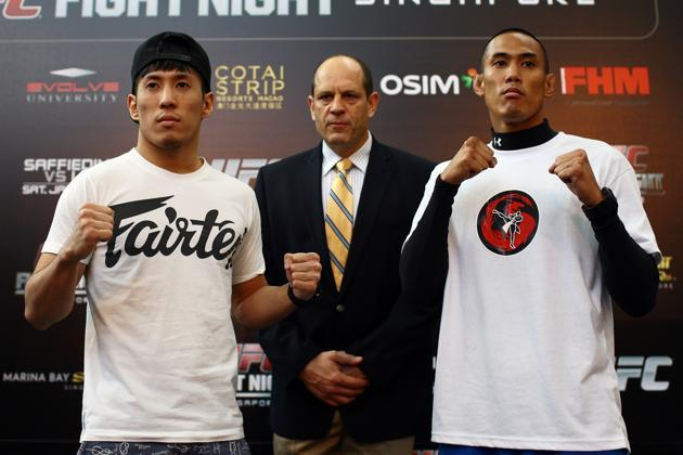 Wee (left) and Galera during UFC Singapore media day at MBS on Thursday. (Yahoo Photo / Cheryl Tay)