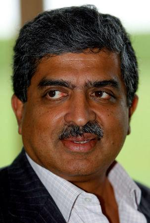 FILE PHOTO - Co-Chairman of the Board of Directors of Infosys Technologies Ltd. Nandan M. Nilekani speaks after a news conference on the outskirts of New Delhi September 21, 2008. REUTERS/B Mathur/File Photo