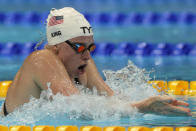 Lilly King of the United States swims in a heat in the women's 200-meter breaststroke at the 2020 Summer Olympics, Wednesday, July 28, 2021, in Tokyo, Japan. (AP Photo/Martin Meissner)
