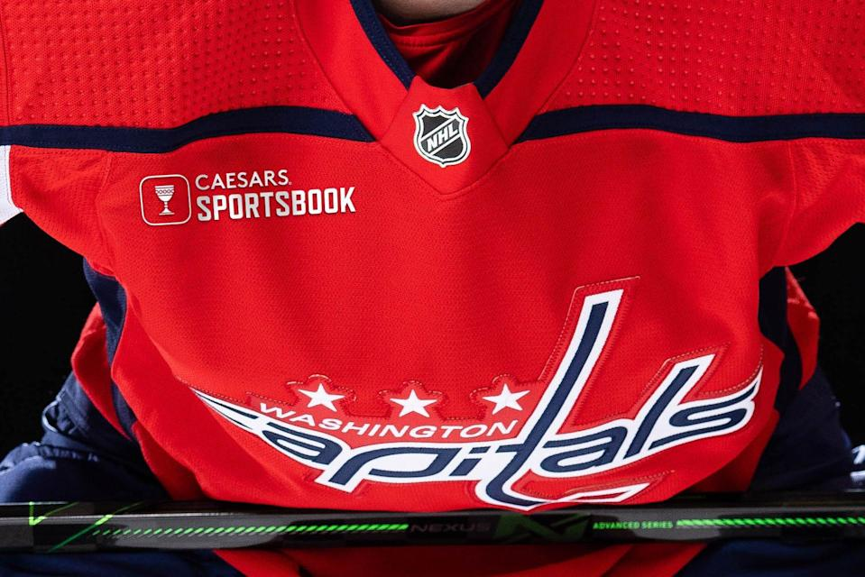The new Capitals jersey with its Caesars Sporstbook sponsorship.