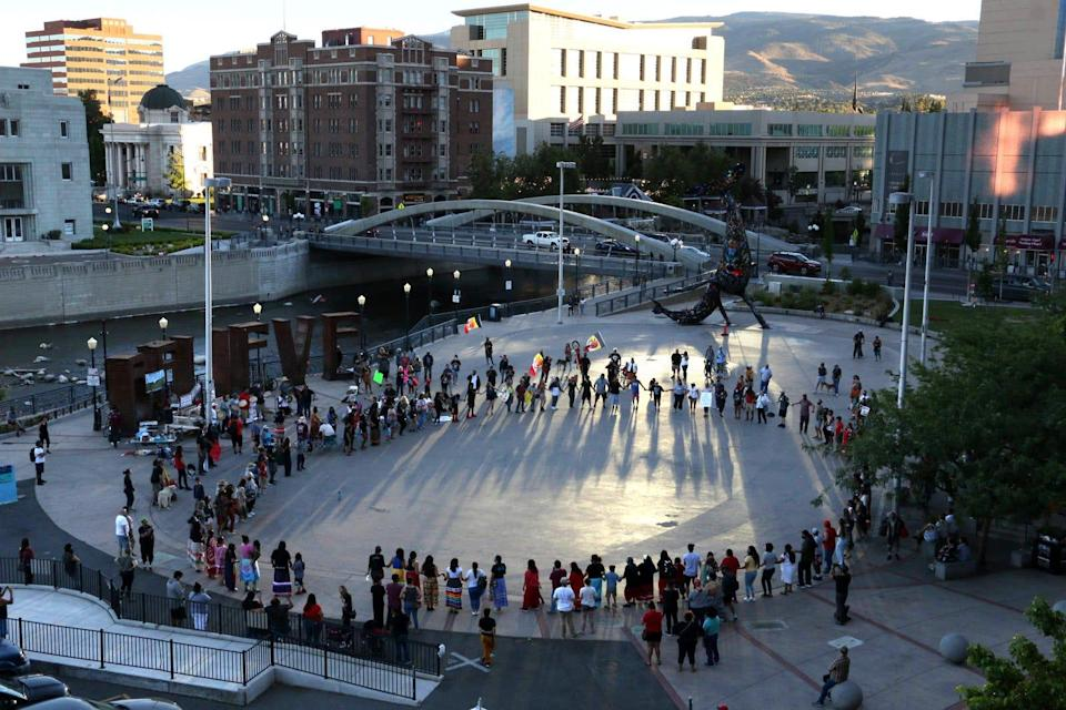 Hundreds gather in Reno's City Plaza to protest the proposed Thacker Pass Lithium Mine in an area of Nevada traditionally known as Peehee Mu'huh on June 12, 2021.