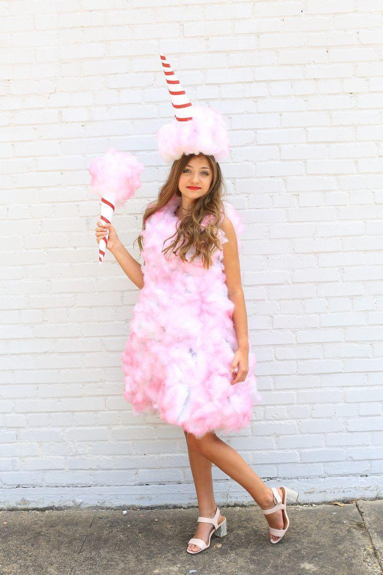 """<p>Teens can easily recreate this sweet, sugary costume with pillow stuffing and pink spray paint. Complete the look with a cone made from red tape and card stock. </p><p><strong>See more at <a href=""""https://www.cutegirlshairstyles.com/lifestyle/10-diy-food-halloween-costumes-kamri-noel/"""" rel=""""nofollow noopener"""" target=""""_blank"""" data-ylk=""""slk:Cute Girl Hairstyles"""" class=""""link rapid-noclick-resp"""">Cute Girl Hairstyles</a>.</strong></p><p><a class=""""link rapid-noclick-resp"""" href=""""https://www.amazon.com/Design-Master-Colortool-Spray-Paint/dp/B0018N0FNK/ref=sr_1_3?tag=syn-yahoo-20&ascsubtag=%5Bartid%7C10050.g.29402076%5Bsrc%7Cyahoo-us"""" rel=""""nofollow noopener"""" target=""""_blank"""" data-ylk=""""slk:SHOP PINK SPRAY PAINT"""">SHOP PINK SPRAY PAINT </a> </p>"""