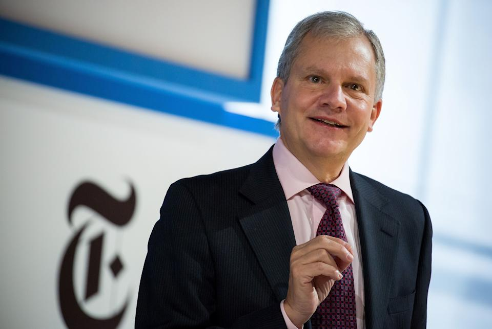 Arthur Sulzberger Jr., chairman of The New York Times Co., speaks during the New York Times DealBook conference in New York, U.S., on Thursday, Nov. 10, 2016. The event brings together CEOs, leading figures in finance, and experts from diverse industries to assess the challenges and opportunities that will define the deal world of tomorrow. Photographer: Michael Nagle/Bloomberg via Getty Images