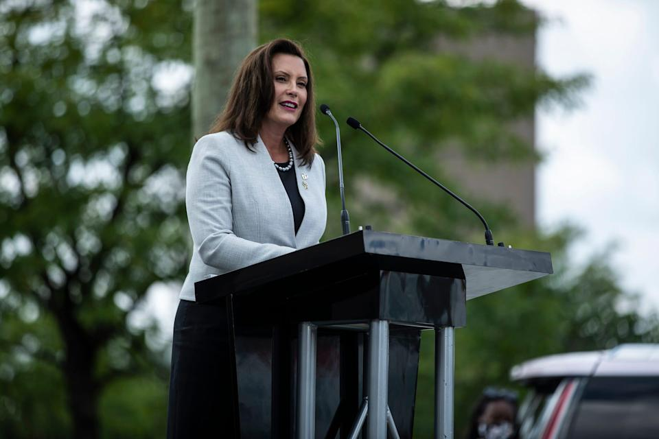 Gov. Gretchen Whitmer speaks during the Aretha L. Franklin Memorial Highway dedication ceremony in Detroit, Monday, August 24, 2020.