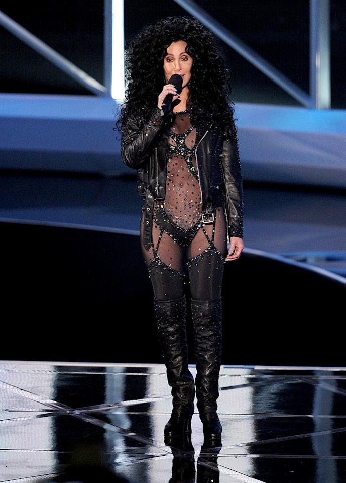 """BEST — Cher: Was Cher trying to turn back time by showing up in her """"If I Could Turn Back Time"""" costume looking desperate and a little sad? Yes. Do we care? Nope — she's Cher; she can do whatever she wants. <a href=""""http://www.televisionwithoutpity.com/show/award_shows/mtv_vmas_best_and_worst_moment.php?__source=tw