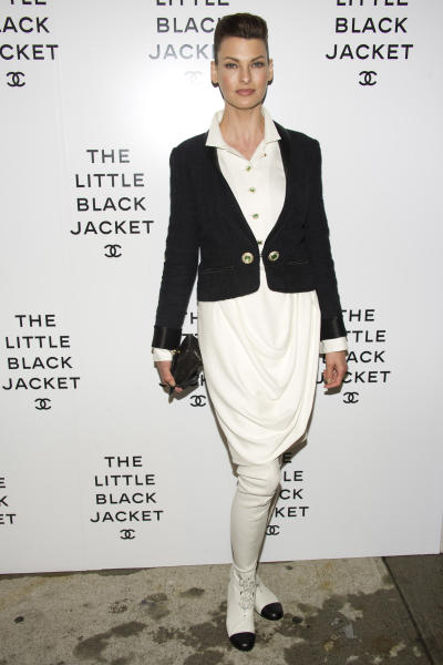 Linda Evangelista attends CHANEL's The Little Black Jacket Exhibition on Wednesday, June 6, 2012, in New York. (Photo by Charles Sykes/Invision/AP)