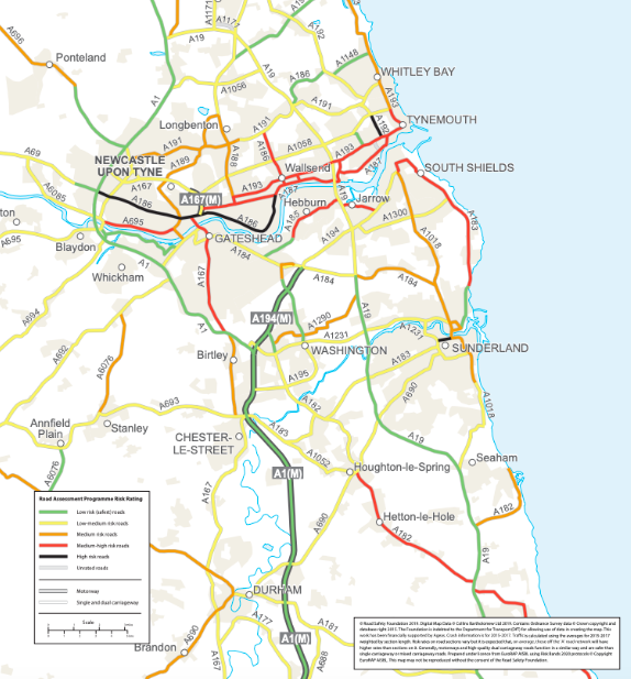 The high-risk roads in the north-east of the country (Road Safety Foundation)