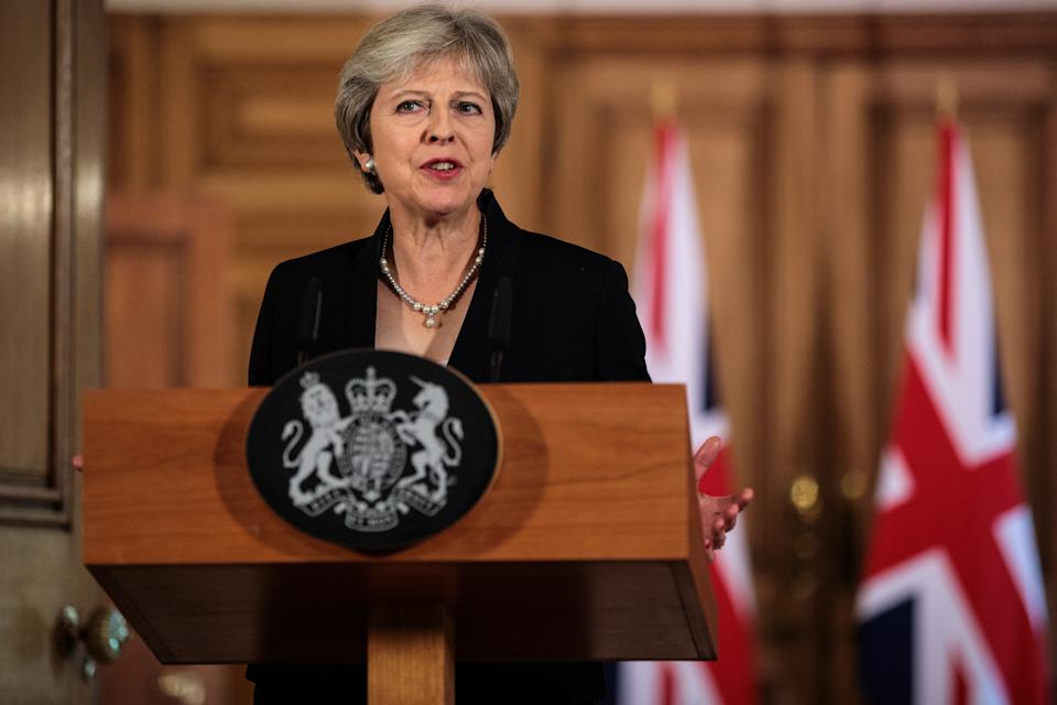 LONDON, ENGLAND - SEPTEMBER 21: British Prime Minister Theresa May makes a statement on Brexit negotiations with the European Union at Number 10 Downing Street on September 21, 2018 in London, England. Mrs May reiterated that a no-deal Brexit is better than a bad deal in a speech to the British people after the EU rejected her Chequers Plan for leaving the European Union. She said the UK is at an impasse with the EU and the two big issues are trade and Ireland. (Photo by Jack Taylor - WPA Pool /Getty Images)