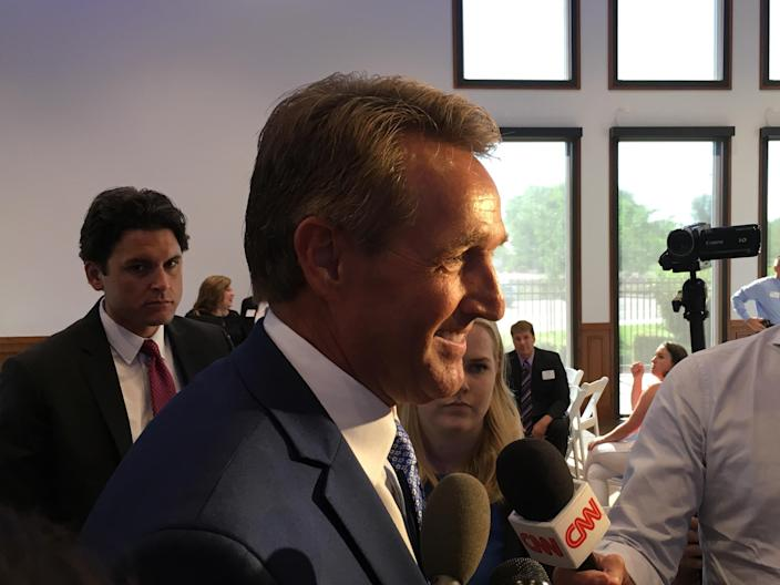 Jeff Flake meets the press after his Chamber of Commerce event in Gilbert, Ariz. (Photo: Andrew Romano/Yahoo News)