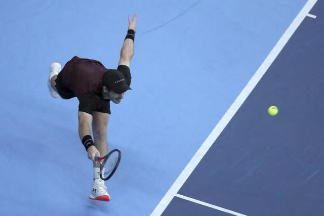 Andy Murray lunges for a forehand (Francisco Seco/AP)
