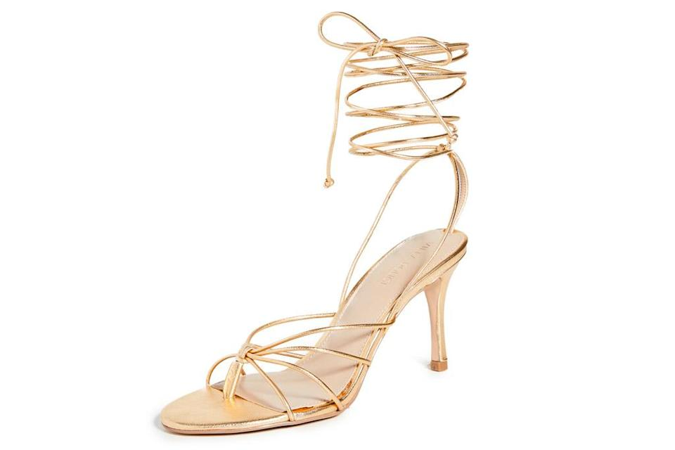 sandals, gold, ankle wrap, wrap, heels, villa rouge