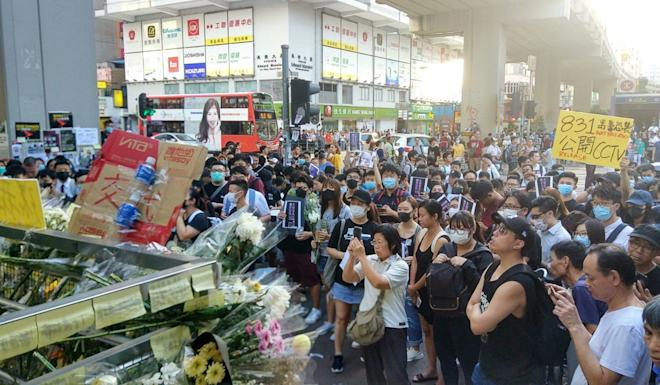 Crowds gather outside Prince Edward MTR after the station was closed on Friday evening. Photo: Linda Lew