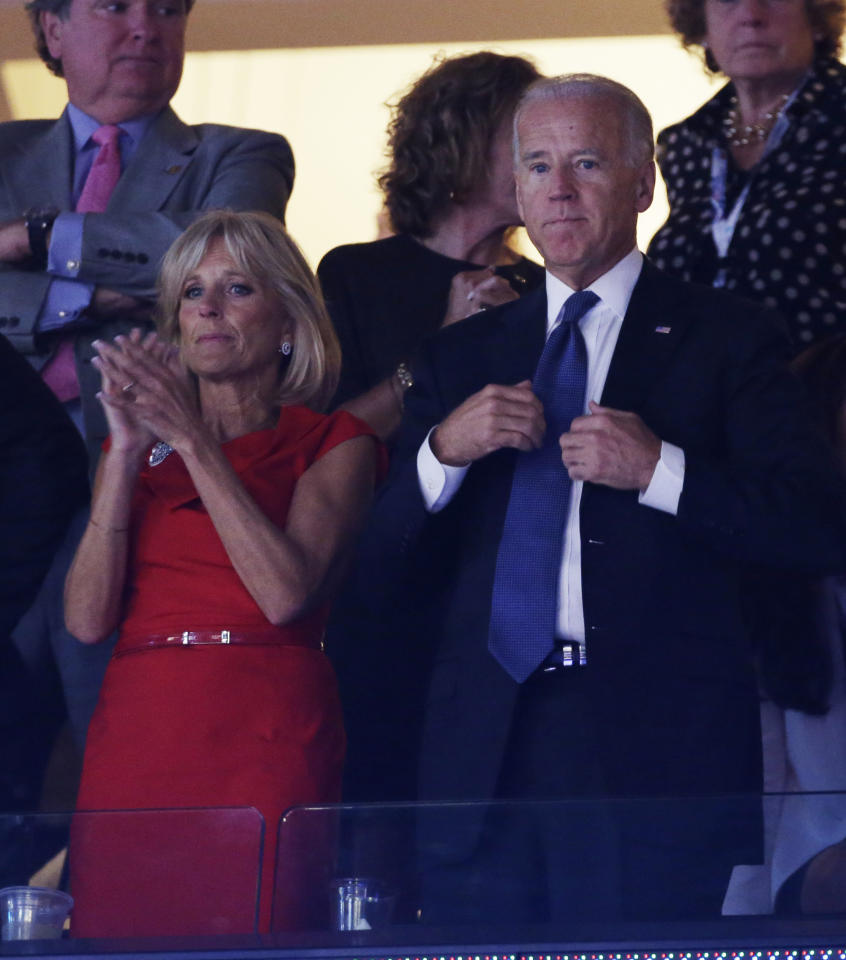 Vice President Joe Biden and his wife Jill Biden watch proceedings at the Democratic National Convention in Charlotte, N.C., on Tuesday, Sept. 4, 2012. (AP Photo/Charlie Neibergall)