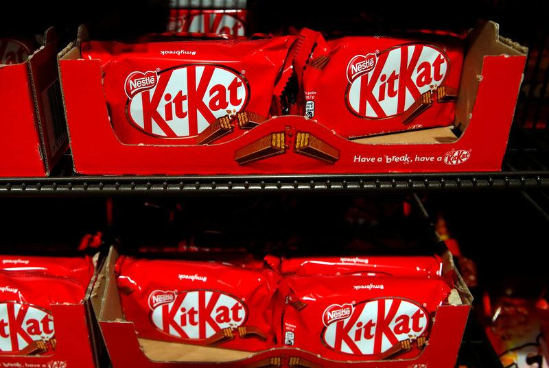 FILE PHOTO: KitKat chocolates are pictured in a shop at Nestle headquarters in Vevey, Switzerland