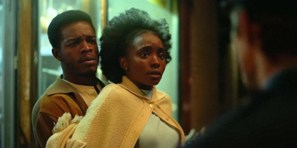 """<p>Based on <a href=""""https://www.popsugar.com/entertainment/Beale-Street-Could-Talk-Book-Spoilers-45568830"""" class=""""link rapid-noclick-resp"""" rel=""""nofollow noopener"""" target=""""_blank"""" data-ylk=""""slk:James Baldwin's book of the same name"""">James Baldwin's book of the same name</a>, Barry Jenkins's <strong>If Beale Street Could Talk</strong> takes us deep into Fonny (Stephan James) and Tish's (Kiki Layne) romance. Things take a turn when the police arrest Fonny for a crime that he didn't commit. On top of the absorbing story, the cinematography is beautiful, and Nicholas Britell's tender score will stay in your head for days. </p> <p><a href=""""http://www.hulu.com/movie/if-beale-street-could-talk-a862614d-c49e-4208-b934-1476963896fe"""" class=""""link rapid-noclick-resp"""" rel=""""nofollow noopener"""" target=""""_blank"""" data-ylk=""""slk:Watch If Beale Street Could Talk on Hulu."""">Watch <strong>If Beale Street Could Talk</strong> on Hulu.</a></p>"""
