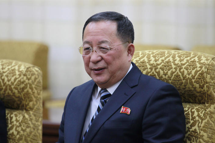 """In this Feb. 13, 2019, photo, North Korean Foreign Minister Ri Yong Ho meets his Vietnamese counterpart Pham Binh Minh at the Mansudae Assembly Hall in Pyongyang, North Korea. Ri called U.S. Secretary of State Mike Pompeo a """"poisonous plant of American diplomacy"""" who hampers efforts to restart nuclear negotiations. Ri issued crude insults against Pompeo on Friday, Aug. 23, 2019 to protest what he called Pompeo's recently reported comments that Washington will maintain crippling sanctions on North Korea unless it denuclearizes. (AP Photo/Jon Chol Jin)"""