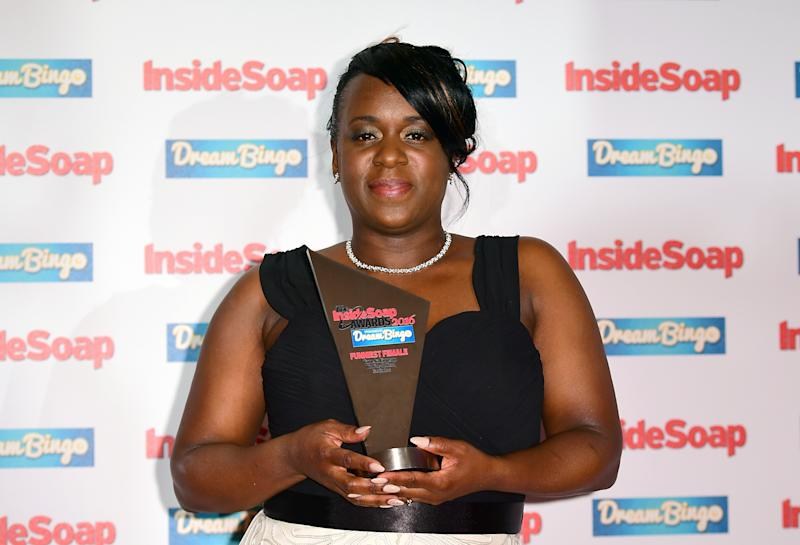 Tameka Empson poses with her award for Funniest Female at the Inside Soap Awards 2016 held at The Hippodrome Casino in London.