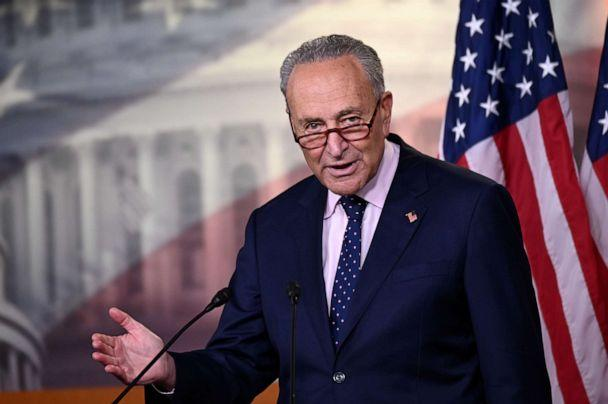 PHOTO:Sen. Minority Leader Chuck Schumer speaks at a news conference with reporters at the Capitol, in Washington, July 23, 2020. (Erin Scott/Reuters)
