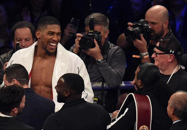 Anthony Joshua announces his September 22 world title fight against Russia's Alexander Povetkin (AFP Photo/Oli SCARFF)