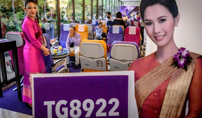 Thai Airways opened a plane-themed restaurant. Photo: AFP