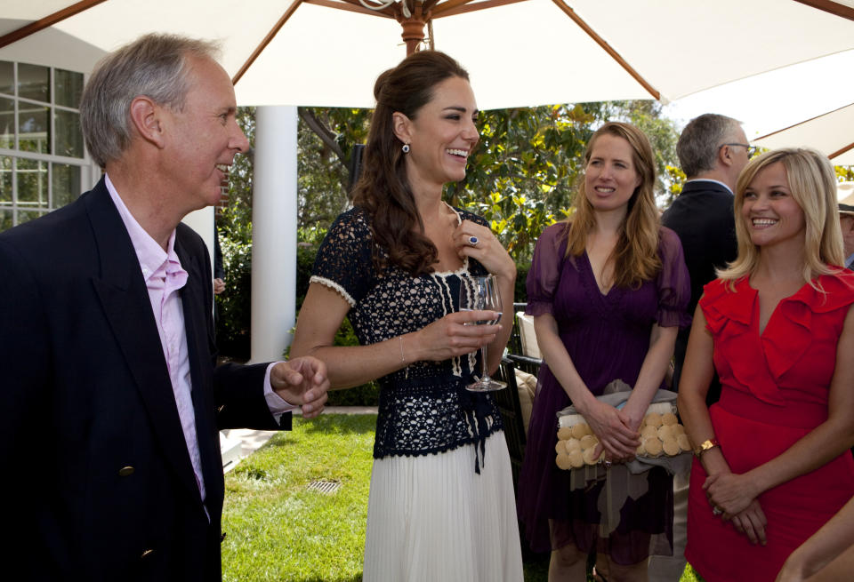 """Kate met Reese Witherspoon during a reception to mark the launch of Tusk's US Patron Circle in 2011 in Beverley Hills, California. Witherspoon said she """"fell under her spell"""" and had been """"so excited"""" to meet her. (Karen Ballard/Getty Images)"""